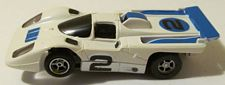AFX Ferrari 512M white with blue #2 and white rear tail piece HO slotcar