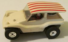 Aurora TJet Dune Buggy coupe, white with red striped roof HO slotcar