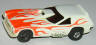AFX Vega van gasser with flames, white with dayglo orange flames.