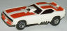 AFX Plymouth Cuda funny car slot car, white with orange.