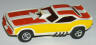 AFX Plymouth Cuda funny car slot car, white with orange and butterscotch side stripes.