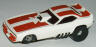 AFX Plymouth Cuda funny car slot car, white with dark red stripe.
