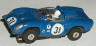 Aurora T-Jet HO slot car Alpha Romeo in blue with blue roll bar