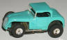 Aurora T-Jet slot car hot rod coupe in turquoise