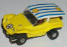 Tuff Ones dune buggy in lemon yellow with white and blue roof